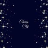 Stjärnklar ram på mörker - blå bakgrund Royaltyfria Bilder