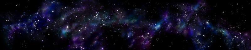Stjärnklart landskap för panorama Panorama av universumet Fotografering för Bildbyråer