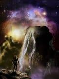 Stjärnor över den främmande planeten vektor illustrationer