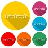 5 stjärnor begrepp, symbol för fem guld- stjärnor eller logo, färguppsättning med lång skugga royaltyfri illustrationer