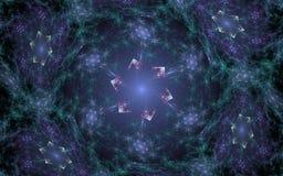 Stjärnor för abstrakt begrepp för fractal för bakgrundsbild i grön energi klumpar ihop Arkivfoton