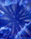 stjärnor för bakgrundsmoonsky Royaltyfri Foto
