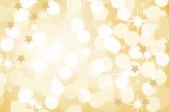 Stjärnor för garnering för julbakgrundskort tänder guld- copyspa Royaltyfri Fotografi