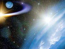 stjärnor för kometjordsky Royaltyfri Foto