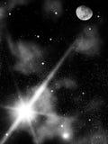 stjärnor för moonnattsky Royaltyfri Bild