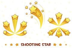 Stjärnor för olik skytte för tecknad film guld- stock illustrationer