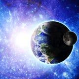 stjärnor för planet för bakgrundsjord fulla Arkivbild