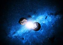 stjärnor för planet för bakgrundsjord fulla Arkivbilder