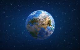 stjärnor för planet för bakgrundsjord fulla Europa och Asien från utrymme royaltyfri illustrationer