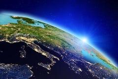 stjärnor för planet för bakgrundsjord fulla framförande 3d Arkivbild