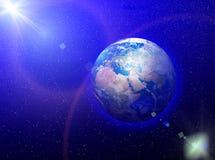stjärnor för planet för bakgrundsjord fulla stock illustrationer