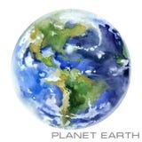stjärnor för planet för bakgrundsjord fulla Jordvattenfärgbakgrund royaltyfri illustrationer