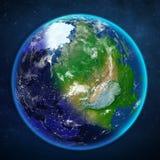 stjärnor för planet för bakgrundsjord fulla Sikt från utrymme Arkivfoton
