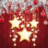 Stjärnor för ris för julprydnader struntsaker fryste guld- stock illustrationer