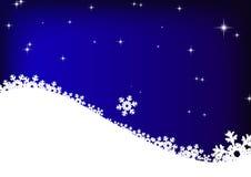 stjärnor för snowflakes för blå sky för bakgrund Arkivbild