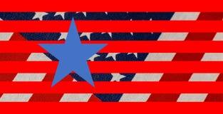 Stjärnor och bandbakgrund med den vävde flaggan i bakgrund och diagramstjärnor och band och en perfekt blå stjärna i förgrund royaltyfri bild