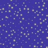 Stjärnor och himmel på natten, sömlös modell royaltyfri illustrationer