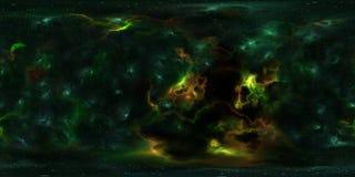 Stjärnor och nebulosa för djupt utrymme 360 grad panorama Arkivbild