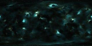 Stjärnor och nebulosa för djupt utrymme 360 grad panorama Royaltyfria Foton