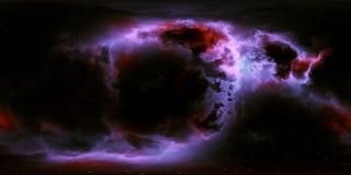 Stjärnor och nebulosa för djupt utrymme 360 grad panorama Royaltyfri Bild