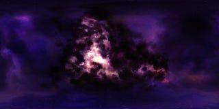 Stjärnor och nebulosa för djupt utrymme 360 grad panorama Fotografering för Bildbyråer