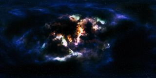 Stjärnor och nebulosa för djupt utrymme 360 grad panorama Royaltyfri Foto