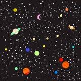 Stjärnor och planet Stock Illustrationer