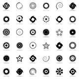 Stjärnor och uppsättning för rotationsdesignbeståndsdelar Arkivbild