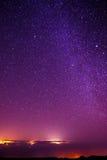 Stjärnor på natthimmel från Pico del Teide, Tenerife Arkivbild