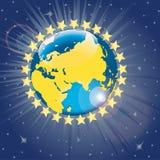 Stjärnor runt om planetjorden. Sikt från utrymme. Ve Royaltyfri Illustrationer