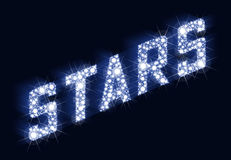 STJÄRNOR som blinkar bokstäver som göras av stjärnor stock illustrationer