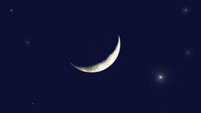 Stjärnorna och den unga månen i ogenomskinligheten royaltyfria bilder
