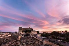 StJaume kyrka på solnedgången, Alcudia Arkivbild