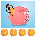 Stjäla pengar från piggybank Fotografering för Bildbyråer