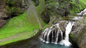 Stjornarfoss Waterfalls in summer season, amazing aerial view
