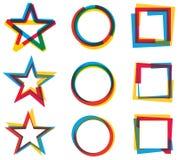 Stjärnacirkelfyrkant Logo Set Royaltyfri Foto