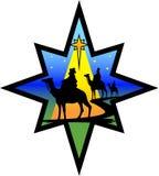 stjärnan för eps-nativitysilhouetten wisemen Fotografering för Bildbyråer