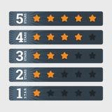 Stjärnavärderingen undertecknar in plan stil med nummer Arkivfoton