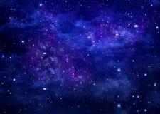 Stjärnklar himmel för abstrakt blå bakgrund Royaltyfri Bild