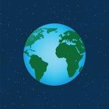 stjärnor för planet för bakgrundsjord fulla Arkivfoto