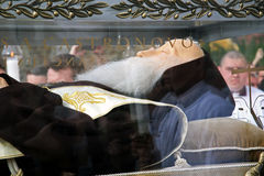 StLeopold Mandic的身体欢迎在萨格勒布, 3,2016 库存图片