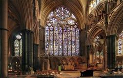 Östligt fönster på Lincoln Cathedral Royaltyfri Bild