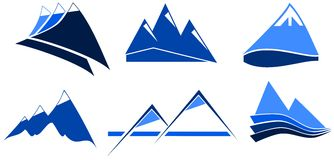 Stylized mountains in blue. Image representing a set of stylized mountains usable like logo or decoration Royalty Free Stock Image