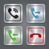 Ställ in app-symboler, metalliska telefonknappar. Arkivfoton