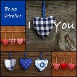 Ställ in collagevalentins meddelandet för förälskelse med färgrika tyghjärtor Royaltyfria Bilder