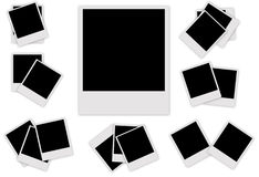 Ställ in den polaroid- fotoramen Fotografering för Bildbyråer