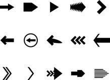 Ställ in den svarta vita symbolen för pilen Royaltyfria Bilder