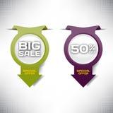 Ställ in för Sale för vektoretiketten det speciala erbjudandet för det stora banret papper Royaltyfria Bilder