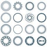 Ställ in fractal- och virvelformbeståndsdelen Tappningmonokrom differen Royaltyfri Bild