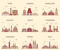 Ställ in indiska horisonter Mumbai Delhi Jaipur Kolkata Royaltyfri Bild